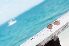 Óculos de sol e oceano azul como o fundo Imagens de Stock Royalty Free
