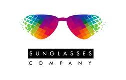 Óculos de sol Logo Design Ícone colorido dos vidros ilustração royalty free