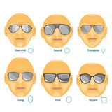 Óculos de sol para a cara diferente Grupo de seis formulários Imagem de Stock Royalty Free
