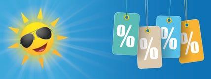 Óculos de sol Smiley Price Stickers Percent Header de Sun Ilustração Royalty Free