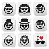 Óculos de sol vestindo dos povos, ícones dos feriados ajustados Fotografia de Stock Royalty Free
