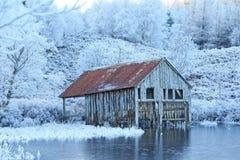 łódkowatego domu stara zima Zdjęcie Stock