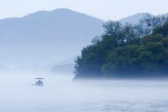 łódkowaty jeziorny zachód Obraz Royalty Free