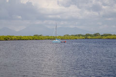 Łódkowaty na woda krajobrazie samotnie Obraz Stock