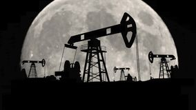 Óleo da gasolina da fábrica da ecologia que bombeia em unidades do petróleo da fase da fabricação da terra ilustração royalty free