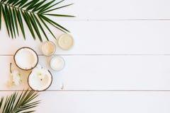 Óleo de coco e cosméticos fotos de stock