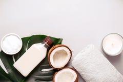 Óleo de coco e folhas tropicais Conceito dos termas dos cuidados capilares fotografia de stock