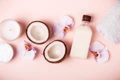 Óleo de coco e metades do coco fresco em um fundo cor-de-rosa Conceito dos termas dos cuidados capilares imagens de stock