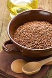 Óleo de linhaça e sementes de linho foto de stock