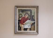 Óleo de Rogers na pintura da lona, Claremore, Oklahoma foto de stock royalty free