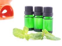 Óleo do aroma no fundo branco Imagens de Stock