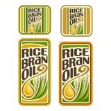 Óleo do farelo de arroz do logotipo do vetor ilustração stock