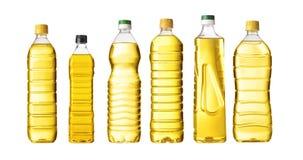 Óleo do vegetal ou de girassol na garrafa plástica Fotos de Stock Royalty Free