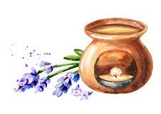 ?leo essencial da flor da alfazema e l?mpada do aroma Ilustra??o tirada m?o da aquarela isolada no fundo branco ilustração royalty free