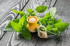 Óleo essencial do melissa e das folhas frescas do melissa imagens de stock
