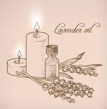 Óleo essencial e velas da alfazema Imagem de Stock