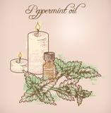 Óleo essencial e velas da pastilha de hortelã Fotos de Stock