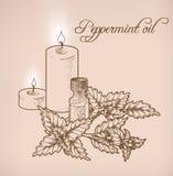 Óleo essencial e velas da pastilha de hortelã Fotos de Stock Royalty Free