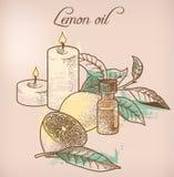 Óleo essencial e velas do limão Foto de Stock