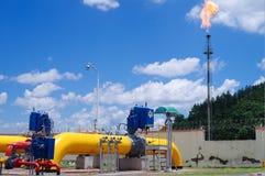 Óleo/gasoduto no fogo Fotos de Stock Royalty Free