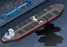 Óleo gotejante do petroleiro isométrico do navio na vista traseira ilustração stock