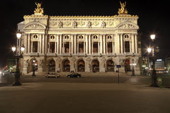 A ópera grande na noite, Paris fotos de stock royalty free