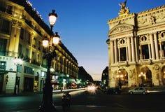 Ópera magnífica París en noche Foto de archivo libre de regalías