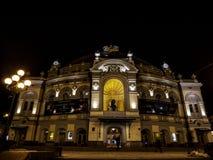 Ópera nacional de Ucrania T g Shevchenkov en la noche imagen de archivo