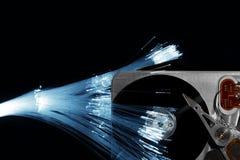 Óptica de fibras y mecanismo impulsor de disco duro Imágenes de archivo libres de regalías