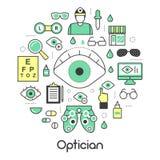 Óptico Thin Line Icons fijado con tecnología y lentes de la optometría Imagenes de archivo