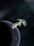 Órbita alta, cruzador de batalha da ficção científica ilustração stock