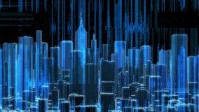 Órbita da mosca do código de dados do computador da skyline da cidade (laço de HD) ilustração stock