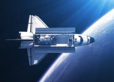 Órbita del transbordador espacial en los rayos de la luz ilustración del vector