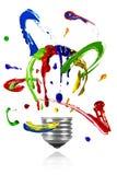 Pinte la órbita alrededor de bombilla pintada Fotografía de archivo libre de regalías
