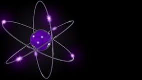 Órbitas estilizadas púrpuras del átomo y del electrón representación 3d foto de archivo libre de regalías