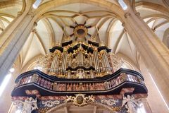 Órgão da igreja de Severin em Erfurt, Thuringia, Alemanha foto de stock royalty free