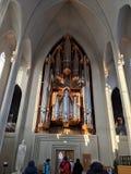 Órgão em Hallgrimskirkja foto de stock