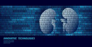 Órgãos internos da urologia saudável dos rins Fluxo de dados do código binário Ilustração inovativa em linha do vetor da tecnolog ilustração royalty free