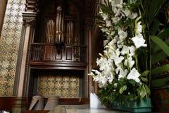 ?rgano de la iglesia en la capilla del se?or santo Jose en la catedral, Le?n, Guanajuato Vista lateral imagenes de archivo