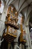 Órgano del santo Michael Cathedral en Bruselas Foto de archivo libre de regalías