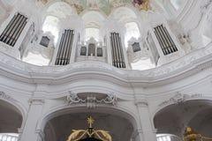 Órgano en Abbey Church Neresheim Imágenes de archivo libres de regalías
