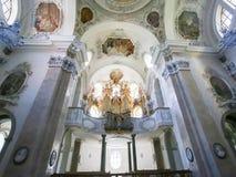 Órgano en basílica del St Mang en Fussen, Baviera, Alemania Foto de archivo libre de regalías
