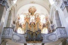 Órgano en basílica del St Mang en Fussen, Baviera, Alemania Imagenes de archivo