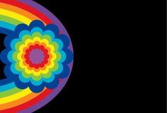 Óvalo del arco iris con la flor stock de ilustración