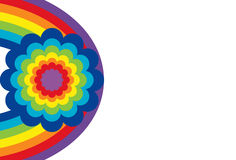 Óvalo del arco iris con la flor ilustración del vector