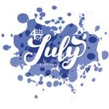 ô julho A caligrafia da tendência Vale-oferta excelente ao dia da independência Imagem de Stock
