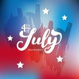 ô julho A caligrafia da tendência Vale-oferta excelente ao dia da independência Imagens de Stock Royalty Free