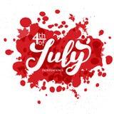 ô julho A caligrafia da tendência Vale-oferta excelente ao dia da independência Imagens de Stock