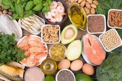 Ômega 3 fontes do alimento dos ácidos gordos imagens de stock royalty free