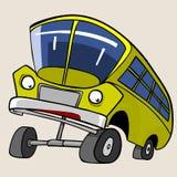 Ônibus amarelo do personagem de banda desenhada elevado Foto de Stock